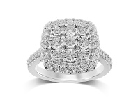 Bevilles Soft Square Look Halo Ring with 1.00ct of Diamonds in Sterling Silver