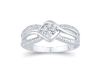 Bevilles Diamond Fancy Ring in Sterling Silver - L