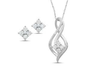 Brilliant Illusion Diamond Necklace and Earrings Gift Set