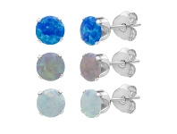 Bevilles Three Earrings Set with Created Blue, Pink & White Opals in Sterling Silver