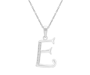 Sterling Silver Diamond Set Initial Necklace - E