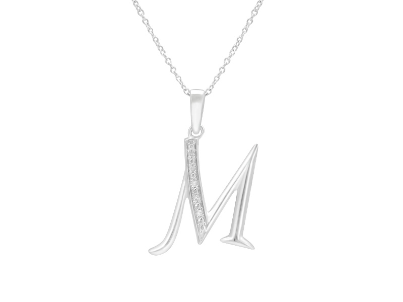 Sterling Silver Diamond Set Initial Necklace - M