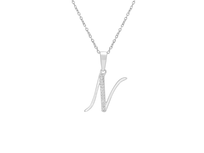 Sterling Silver Diamond Set Initial Necklace - N