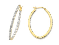 Bevilles 9ct Yellow Gold Silver Filled Diamond Hoop Earrings - 2x2