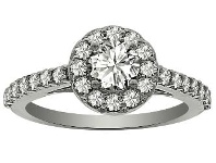 Bevilles Halo Ring with 0.95ct of Diamonds in Platinum