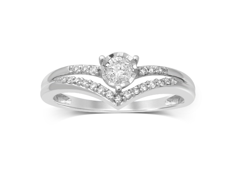 Brilliant V Shape Ring with 0.25ct of Diamonds in 10ct White Gold