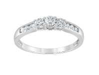 Bevilles Channel Shoulder Ring with 1/2ct of Diamonds in 10ct White Gold
