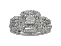 Bevilles Double Halo Square Ring with 0.95ct of Diamonds in 10ct White Gold