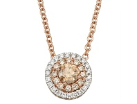 Bevilles Double Halo Necklace with 0.45ct in 14ct Rose Gold