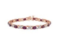 Bevilles Oval Ruby and Diamond Set Tennis Bracelet in 10ct Rose Gold