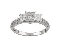Bevilles Shoulder Ring with 0.95ct of Diamonds in 14ct White Gold