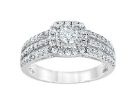 Bevilles 3 Row Halo Ring with 0.95ct of Diamonds in 14ct White Gold