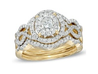 Bevilles Halo Ring with 1.20ct of Diamonds in 14ct Yellow Gold