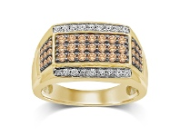 Bevilles 3 Row Cognac Mens Ring with 1.20ct of Diamonds in 10ct White Gold and 10ct Yellow Gold