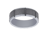 Bevilles Stanton Made for Men Tungsten and Bar Fancy Ring 8mm