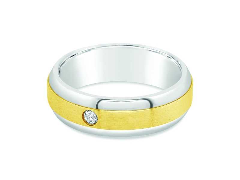 Diamond Set Mens Ring in 9ct Yellow Gold and Stainless Steel