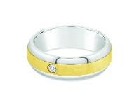 Bevilles Mens Two Tone Diamond Ring in 9ct Yellow Gold & Stainless Steel - W