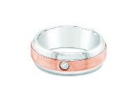 Bevilles Mens Two Tone Diamond Ring in 9ct Rose Gold & Stainless Steel - W