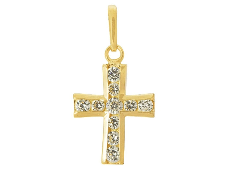 9ct Yellow Gold Small Cubic Zirconia Cross Pendant