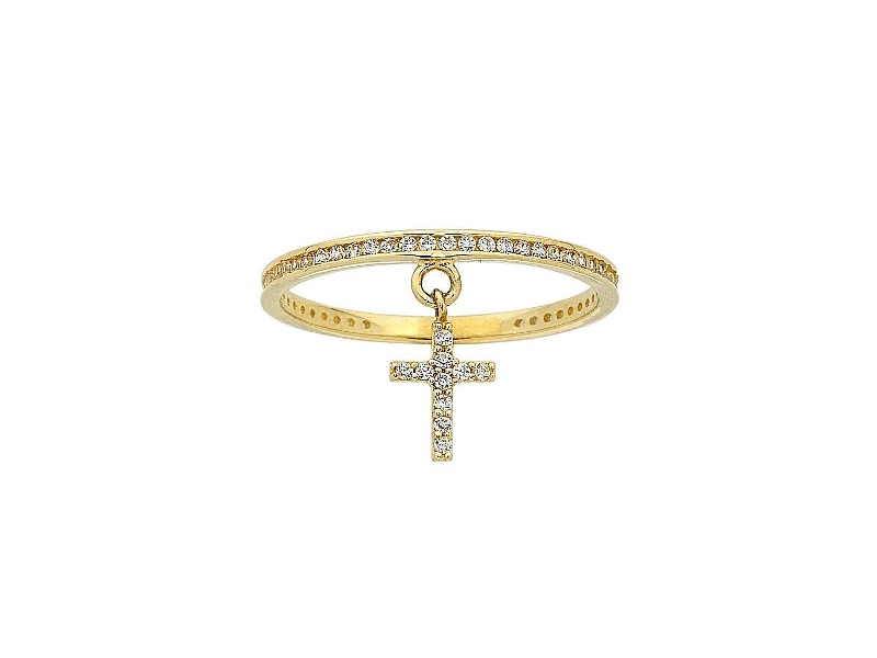 9ct Yellow Gold Cubic Zirconia Cross Charm Stackable Ring