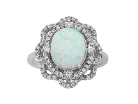 Bevilles Sterling Silver Created Opal and Cubic Zirconia Ring - N