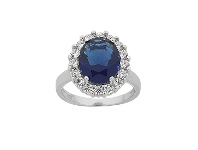 Bevilles Sterling Silver Large Oval Blue and White Cubic Zirconia Ring