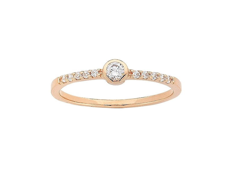 Sterling Silver Rose Plated Cubic Zirconia Stackable Ring - M