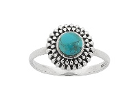 Bevilles Sterling Silver Turquoise Centre Stackable Ring - O