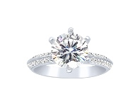 Bevilles Sterling Silver and Cubic Zirconia Solitaire with Studded Band Ring