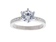 Bevilles Sterling Silver Cubic Zirconia Halo Ring - M