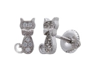 Bevilles Children's Cat Sterling Silver Stud Earrings