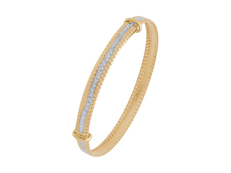 Children's 9ct Yellow Gold 2 Tone Adjustable Bangle