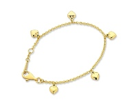 Bevilles Children's 9ct Yellow Gold Silver Infused Heart Charm Bracelet