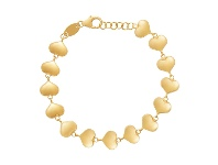 Bevilles Children's Puff Heart Bracelet in 9ct Yellow Gold Silver Infused