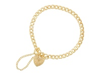 Bevilles Childrens 9ct Yellow Gold Silver Infused Heart Padlock Bracelet 15cm