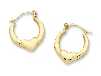 Bevilles Childrens 9ct Yellow Gold Silver Filled Heart Hoop Earrings-10mm
