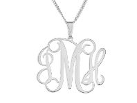 Bevilles Personalised Sterling Silver Initials Monogram Necklace