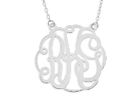 Bevilles Personalised Sterling Silver 3 Initials Monogram Necklace