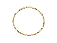 Bevilles 9ct Yellow Gold Silver Infused Double Curb Bracelet