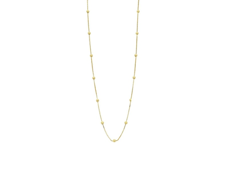 9ct Yellow Gold Silver Infused Chain And Ball Necklace 45cm