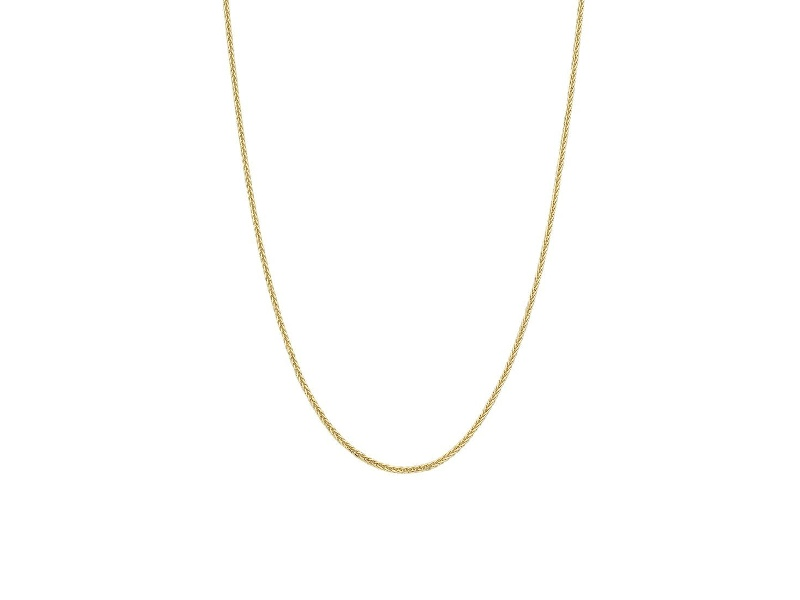 9ct Yellow Gold Silver Infused Wheat Chain Necklace 45cm