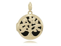 Bevilles 9ct Yellow Gold Silver Infused Tree of Life Locket