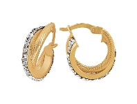 Bevilles Crystal Double Circle Hoop Earrings in 9ct Yellow Gold Silver Infused