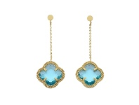 Bevilles 9ct Yellow Gold 4 Leaf Clover Blue Stone Drop Earrings