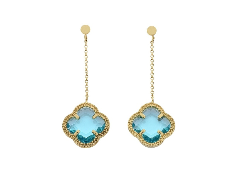 9ct Yellow Gold 4 Leaf Clover Blue Stone Drop Earrings
