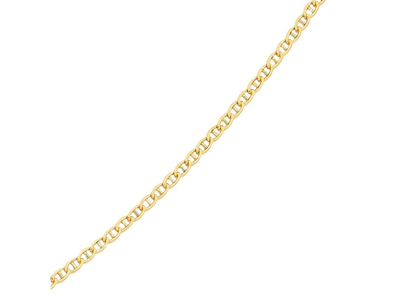 9ct Yellow Gold Silver Infused Anchor Chain Necklace 50cm