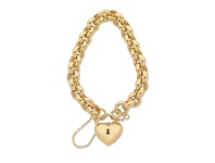 Bevilles 9ct Yellow Gold Silver Infused Padlock Bracelet