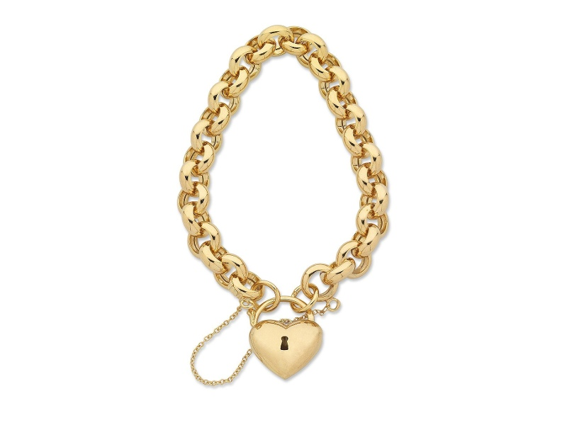 9ct Yellow Gold Silver Infused Padlock Bracelet