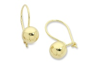 Bevilles 9ct Yellow Gold Silver Infused Euro Ball Earrings