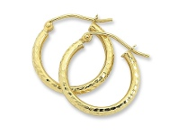 Bevilles 9ct Yellow Gold Silver Infused Hoop Earrings- 2mm